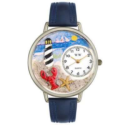 Unisex Lighthouse Navy Blue Leather and Silvertone Watch in Silver