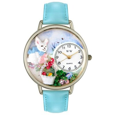 Whimsical Watches Unisex Easter Eggs Baby Blue Leather and Silvertone Watch in Silver