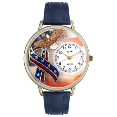 Whimsical Watches Unisex American Patriotic Watch in Silver