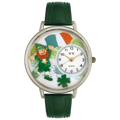 Unisex St. Patrick's Day with Irish Flag Hunter Green Leather and Silvertone Watch in Silver ...