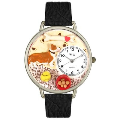 Whimsical Watches Unisex Corgi Black Skin Leather and Silvertone Watch in Silver