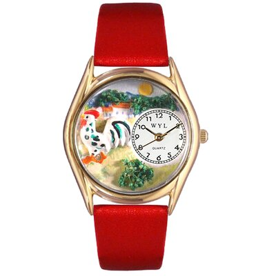 Women's Rooster Red Leather and Gold Tone Watch