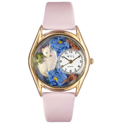 Women's White Cat Pink Leather and Gold Tone Watch