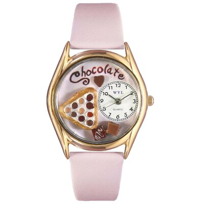 Women's Chocolate Lover Pink Leather and Gold Tone Watch