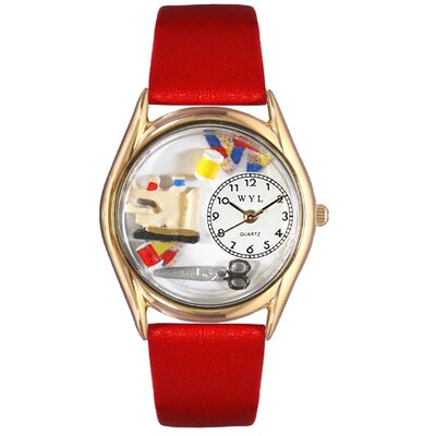 Women's Quilting Red Leather and Gold Tone Watch