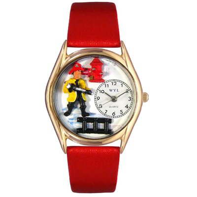 Whimsical Watches Women's Firefighter Black Leather and Gold Tone Watch