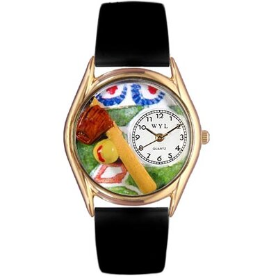 Women's Softball Black Skin Leather and Gold Tone Watch