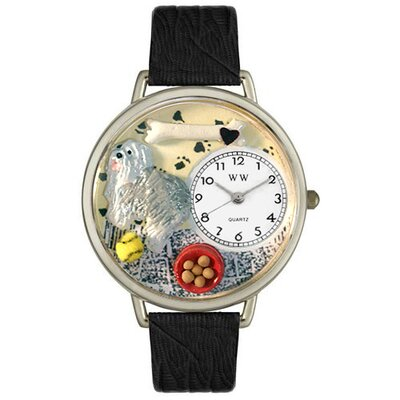 Whimsical Watches Unisex Sheepdog Black Skin Leather and Silver Tone Watch