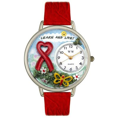 Unisex Heart Disease Learn and Live Red Leather and Silver Tone Watch