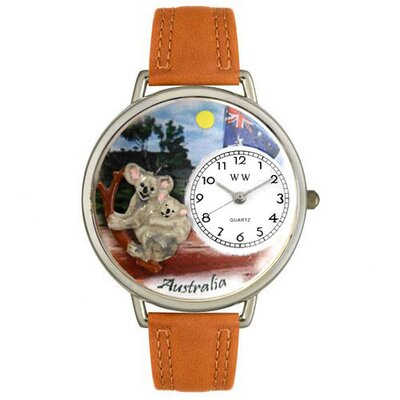 Unisex Australia Tan Leather and Silver Tone Watch