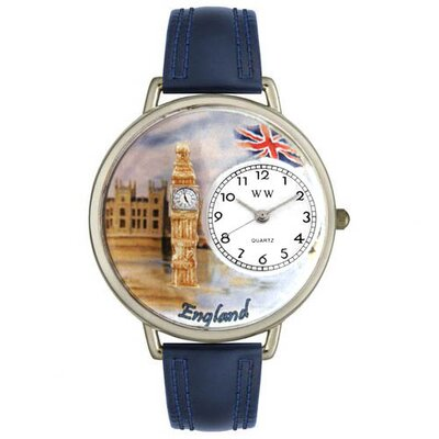 Whimsical Watches Unisex England Navy Blue Leather and Silver Tone Watch