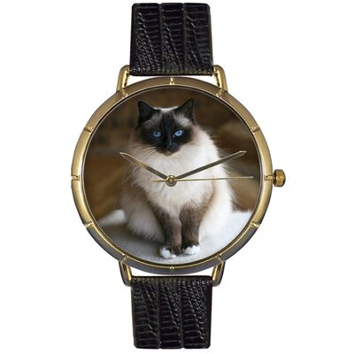 Whimsical Watches Unisex Birman Cat Photo Watch with Black Leather