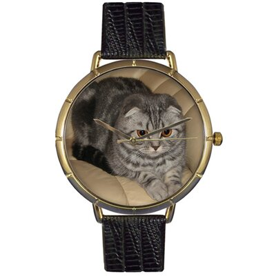 Unisex Scottish Fold Cat Photo Watch with Black Leather