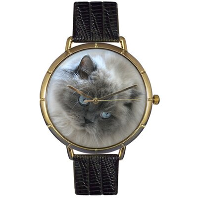 Whimsical Watches Unisex Himalayan Cat Photo Watch with Black Leather