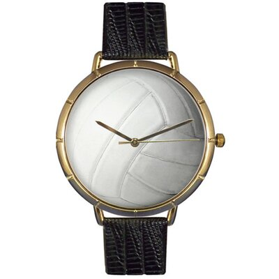 Whimsical Watches Unisex Volleyball Lover Photo Watch with Black Leather
