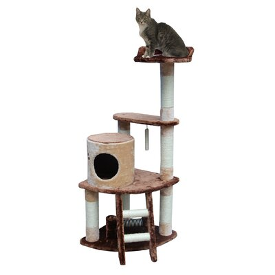 "Kitty Mansions 53"" Sicily Cat Tree in Brown and Beige"