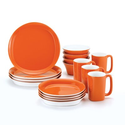 Rachael Ray Round & Square 16-Piece Dinnerware Set