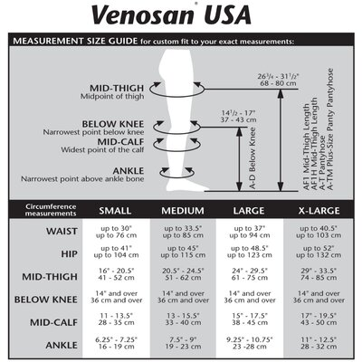 Venosan USA 20-30 mmHg Closed Toe Mid-Thigh Stocking
