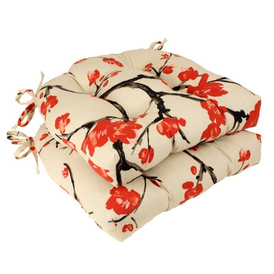 Flowering Branch Polyester Chair Cushion (Set of 2)