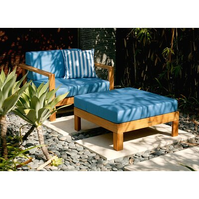 Barlow Tyrie Teak Linear Deep Seating Armchair with Ottoman