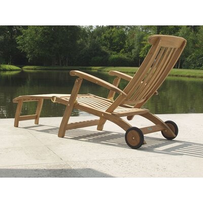 Barlow Tyrie Teak Commodore Long Wheel Steamer Lounge Chair
