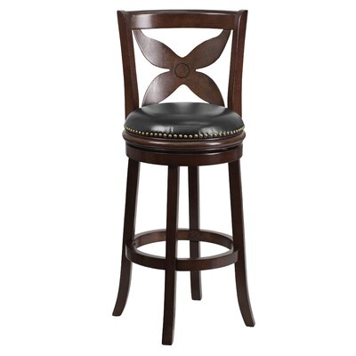 29'' Wood Bar Stool with Leather Swivel Seat
