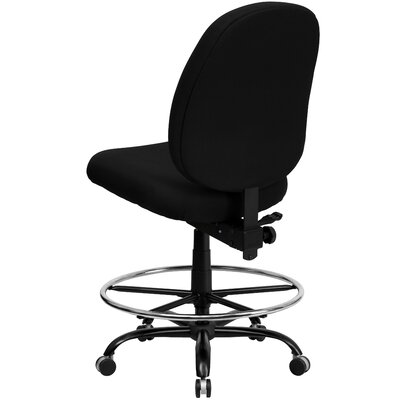 Flash Furniture Height Adjustable Hercules Series Big and Tall Fabric Drafting Stool with Extra Wide Seat