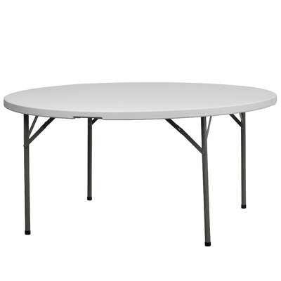 Flash Furniture Round Blow Molded Plastic Folding Table in Granite White