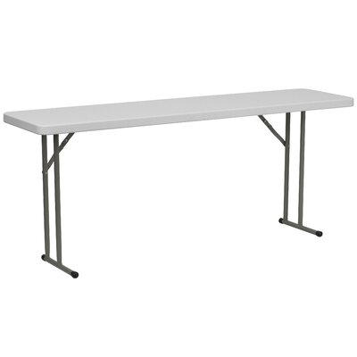 "Flash Furniture 18"" W Blow Molded Plastic Folding Table in Granite White"
