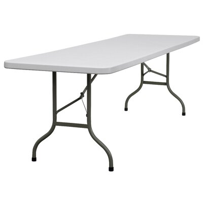 Flash Furniture Blow Molded Plastic Folding Table in Granite White