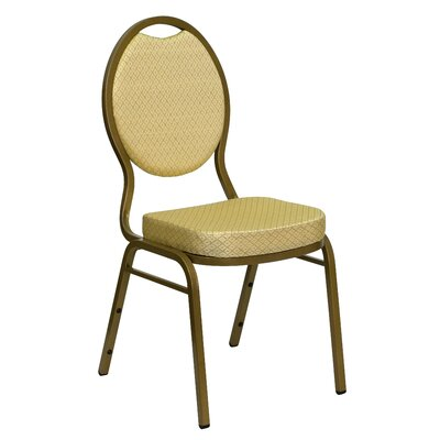 Flash Furniture Hercules Series Teardrop Back Stacking Banquet Chair With Gold Frame
