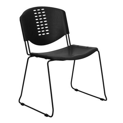 Flash Furniture Plastic Stack Chair in Black