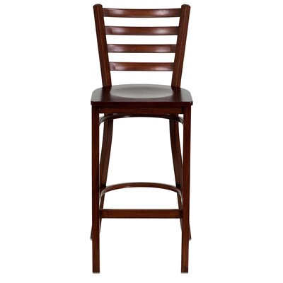 Flash Furniture Hercules Series Ladder Back Metal Restaurant Bar Stool with Wood Seat