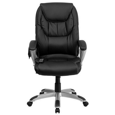 High-Back Leather Massaging Executive Office Chair with Base