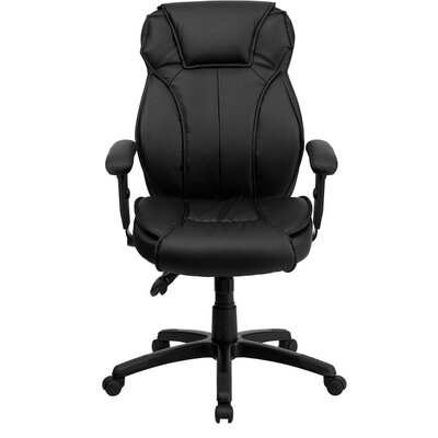 High-Back Leather Executive Office Chair with Triple Paddle Control
