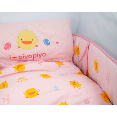 Piyo Piyo Four Piece Cradle Bedding Set in Pink