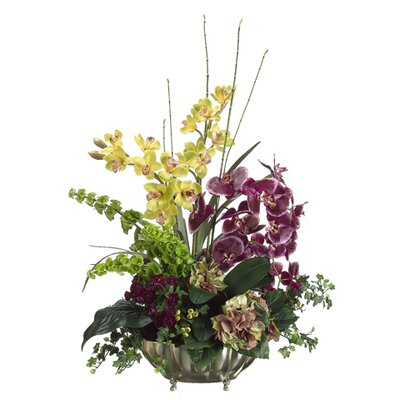 "Tori Home 35"" Orchid and Hydrangea with Aluminum Container"