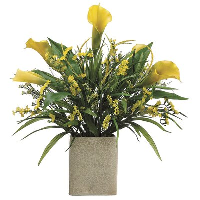 Tori Home Calla Lily/Statics/Grass in Rectangular Vase