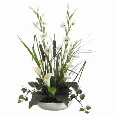 "Tori Home 19"" Lily, Cattail, Ivy and Grass with Ceramic Container"
