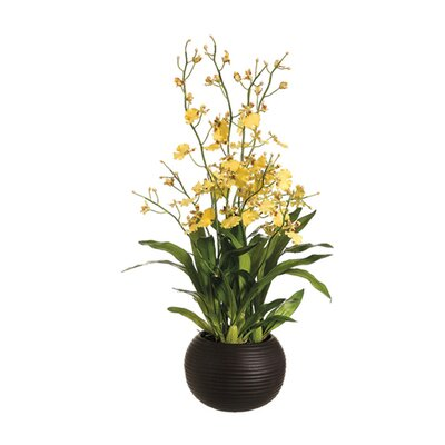 "Tori Home 29"" Dancing Orchid with Sphere Vase in Yellow"