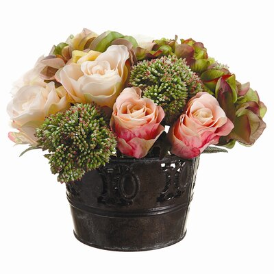 Tori Home Hydrangea/Rose/Sedum in Tin Pot