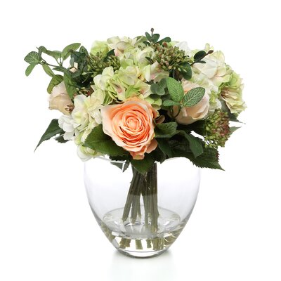 Tori Home Rose, Hydrangea Bouquet in Glass Vase
