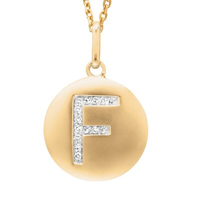 Round Initial F Pendant in Yellow Gold