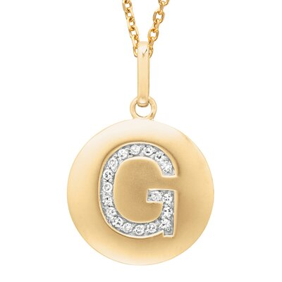 Round Initial G Pendant in Yellow Gold