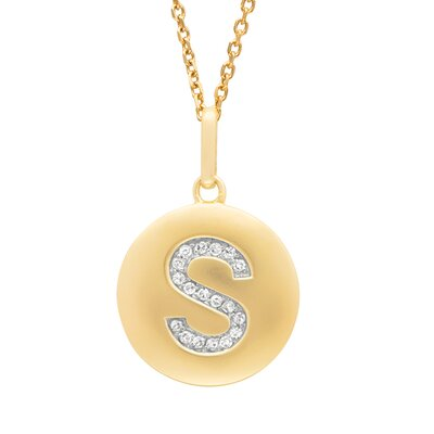 Round Initial S Pendant in Yellow Gold
