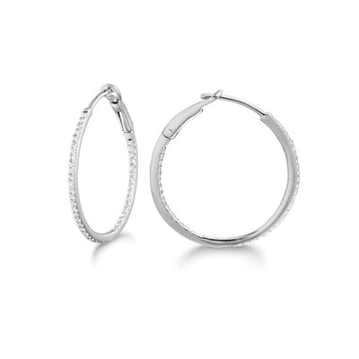Silver on the Rocks Micro Prong 14k Gold Diamond 0.20ct Oval Hoop Earring
