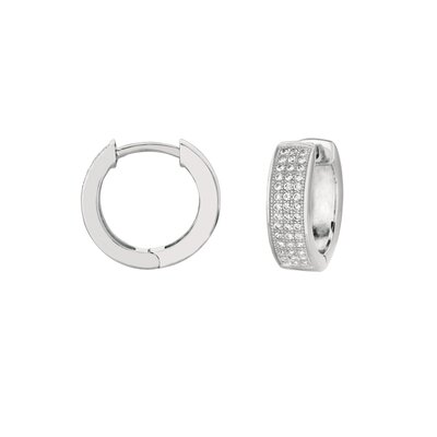 Silver on the Rocks Micro-Set 84 Cubic Zirconium Huggie Shape Hoop Earring