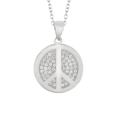 Silver on the Rocks Sterling Silver Micro-Set Cubic Zirconium Round Peace Sign Necklaces