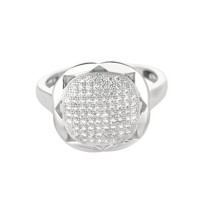 Sterling Silver Micro-Set Cubic Zirconium Square Fashion Ring