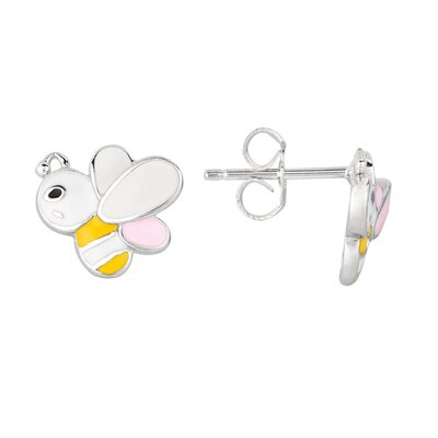 Juliette Collection Sterling Silver and Enamel Bumblebee Earring